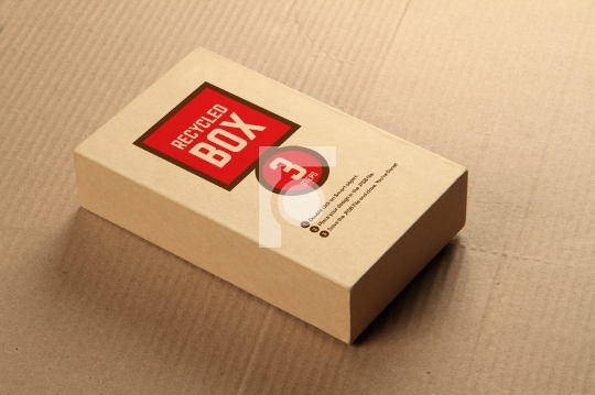 recycled card board box mockup place your design with transpar