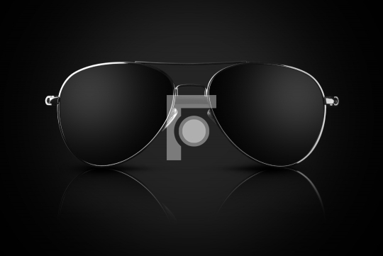 Black Aviator Sunglasses with Reflection on Black Background