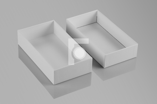 Blank White Open Recycled Card Board Box with Reflection