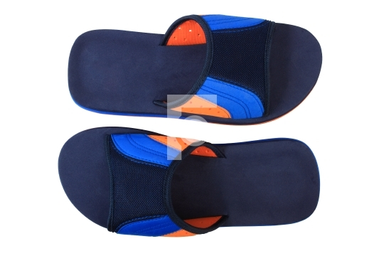 Blue and orange color slippers