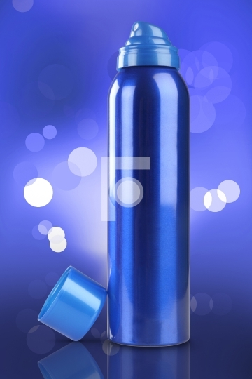 Blue Deodorant Perfume Can or Bottle stock photo