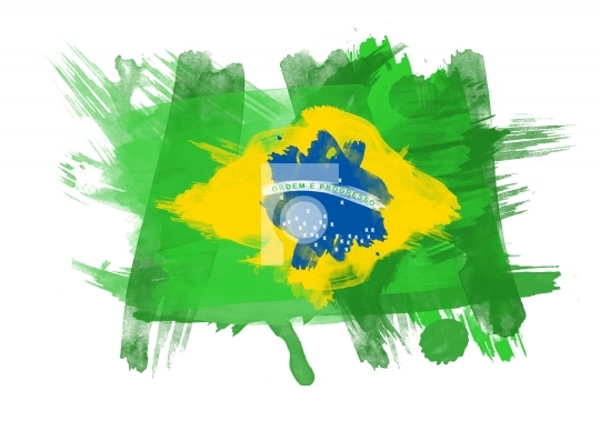 Brazil Flag in White Background