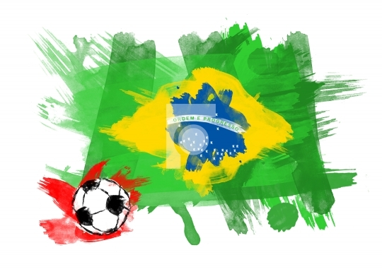 Brazil Flag in White Background with a soccer ball