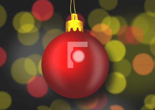 Christmas Ornament Illustration with blurred lights