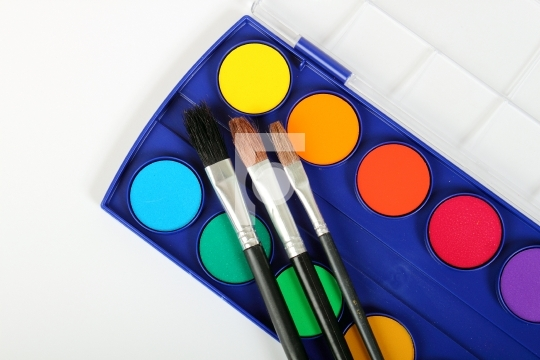 Colors and paint brushes
