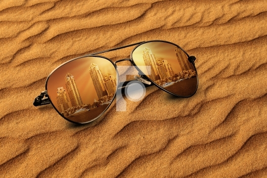 Concept Old Dubai Sand & New Dubai Reflections on Sunglasses