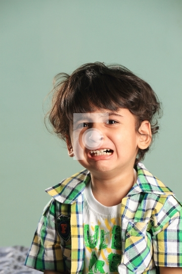 Crying Indian Boy Kid Child Toddler Stock Photo