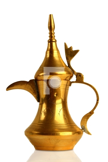 Dallah - the Traditional arabic coffee pot in white background