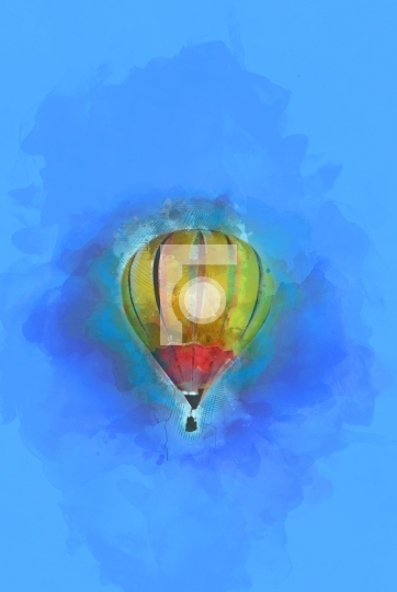 Digital Painting - Flying Hot Air Balloon in Blue Sky