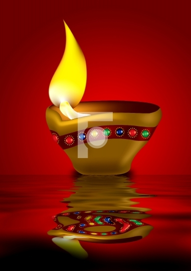Diwali Diya - Oil lamp illustration