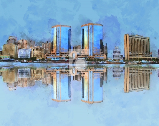 Dubai Creek Building Painting Water Color - Stock Photo