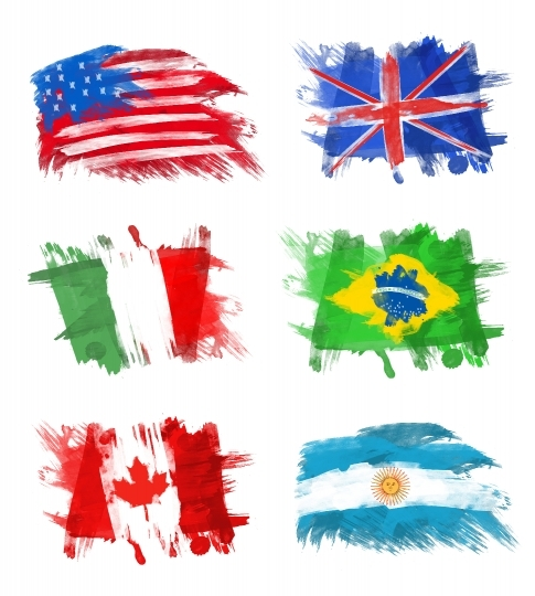 Flags - America, England, Italy, Brazil, Canada and Argentina