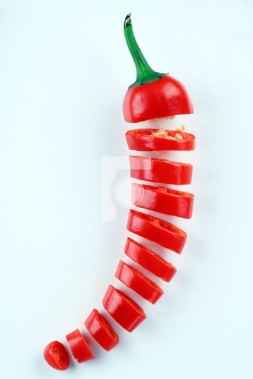 Fresh Red Chili Chopped on White Background