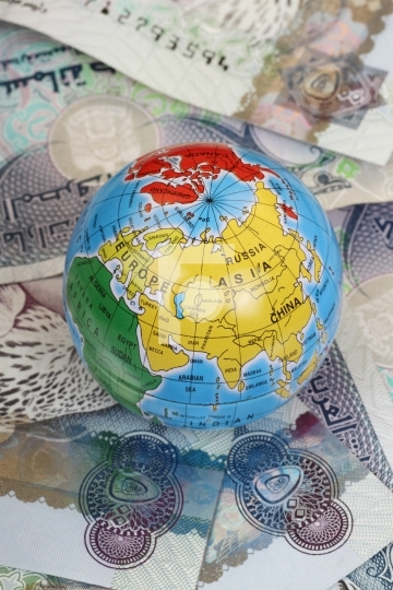 Globe on UAE Currency Dirhams - 500 AED Bank Notes