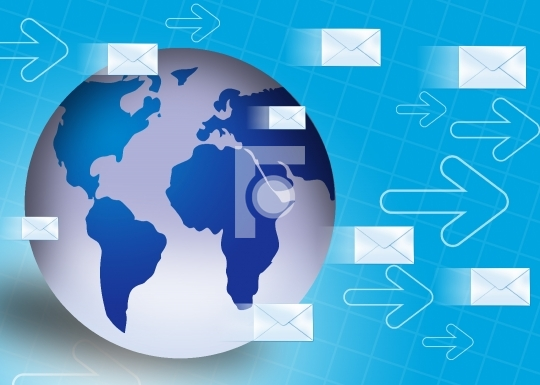 Globe with email symbol technology concept