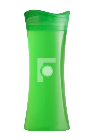 Green shower gel bottle isolated on white background