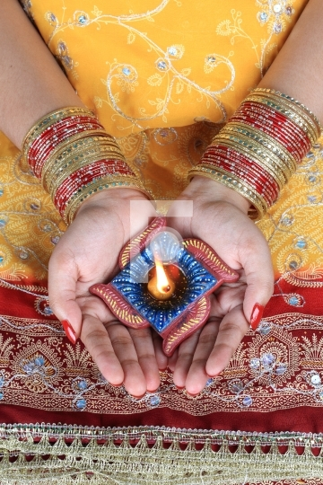 Handmade Diwali Diya Lamp in Female Hand