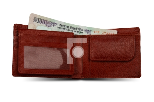 Indian 100 Rupee Currency Notes and Wallet