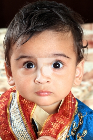 Indian Baby Boy in Traditional Indian Outfit