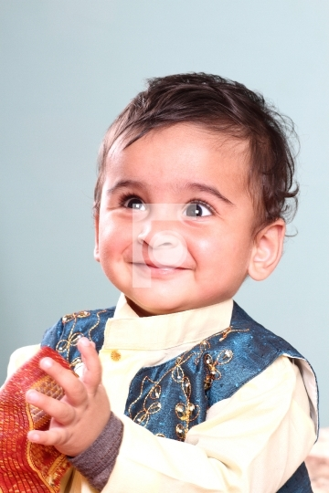 Indian Baby Boy in Traditional Outfit Kurta - Smiling