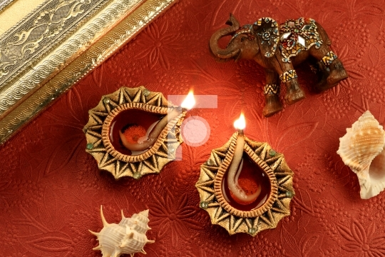 Indian Festival Diwali Diya Lamp with Decorations