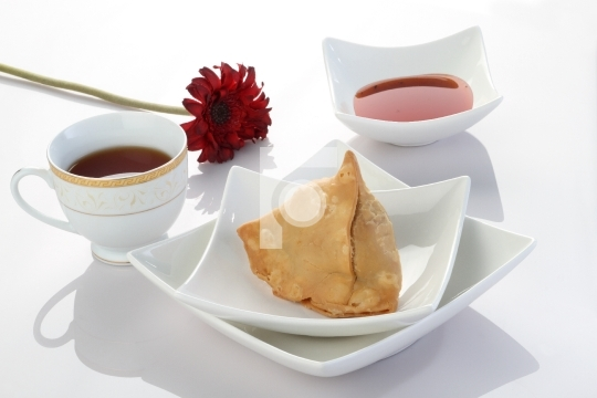 Indian Food Samosa with Tea and Chutney