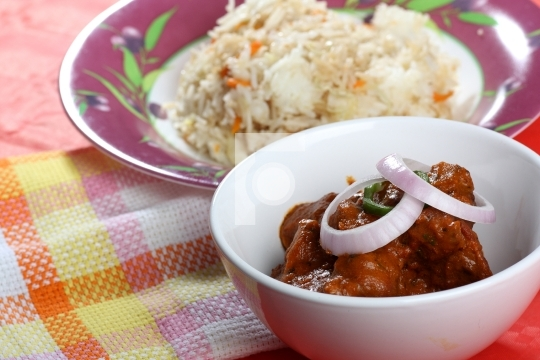 Indian Mutton Curry with rice