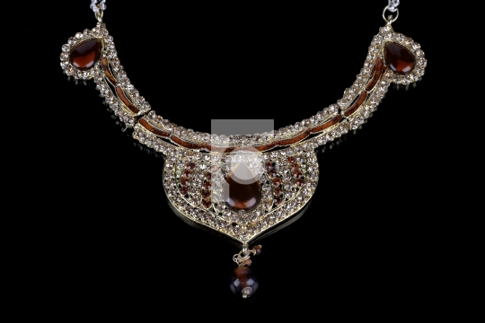 Indian Traditional Diamond Necklace Jewelry on Black Background
