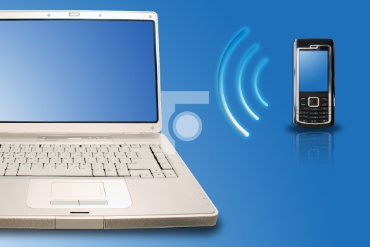 Mobile and Laptop connected through wireless bluetooth
