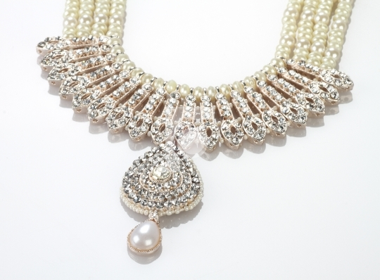 Modern Intricate Indian Jewellery Diamond Necklace on White Back