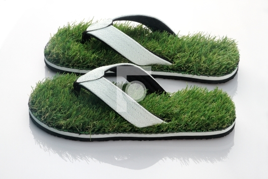 Nature's Walk Concept - Slippers with Green Grass