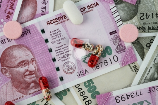 New Indian Rupee Bank Notes with Medicines / Pills