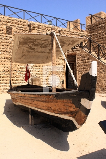 Old boat inside dubai museum, united arab emirates