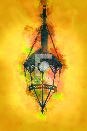 Painting - Old Style Islamic / Arabic Lamp - Ramadan / Eid Celeb