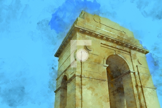 Painting of War Memorial India Gate, New Delhi, India