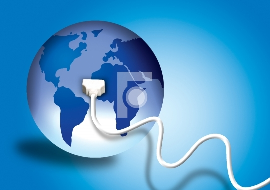 Plug in to the world - information technology concept