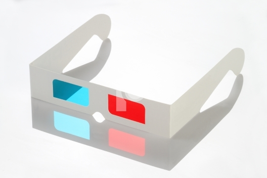 Red Blue Paper 3D Glasses with reflection