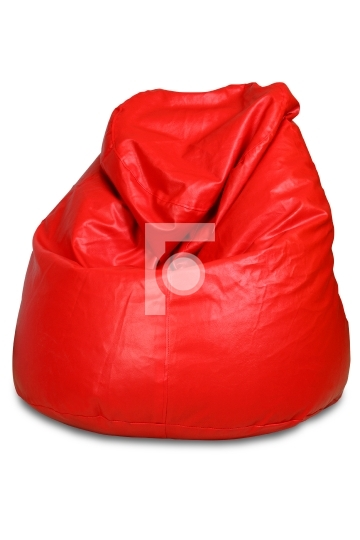 Red colored bean bag isolated on white background