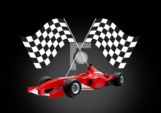 red formula one car and flag Stock Photo