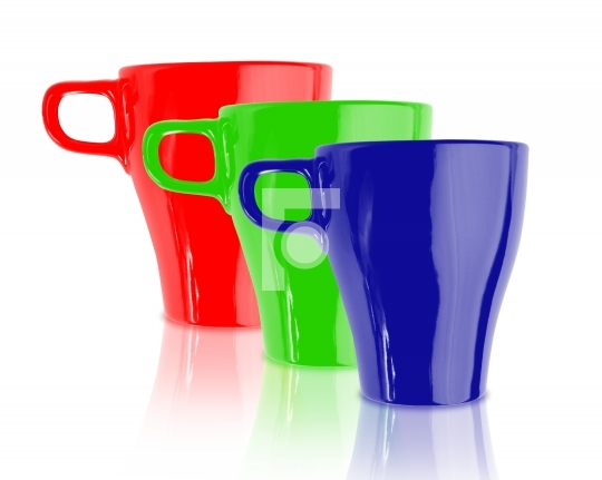 red green blue color coffee mugs