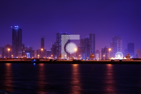 sharjah at night, united arab emirates