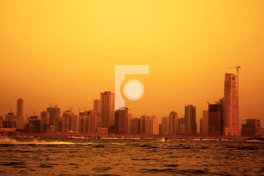 sharjah at sunset, united arab emirates