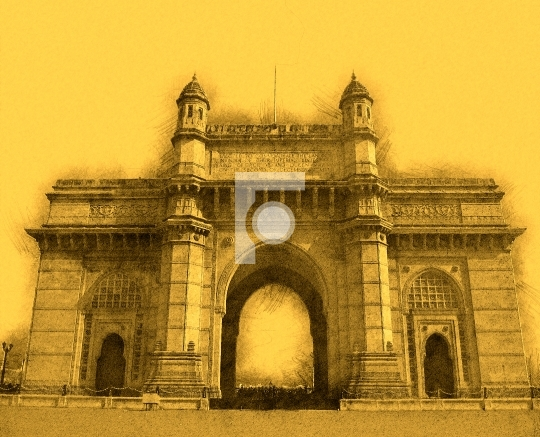 Sketch of Gateway of India, Mumbai, India Stock Photo