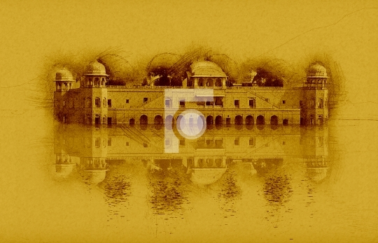Sketch of Jal Mahal, Rajasthan, Jaipur, India Stock Photo