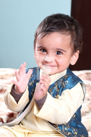 Smiling Indian Baby Boy in Traditional Outfit Kurta