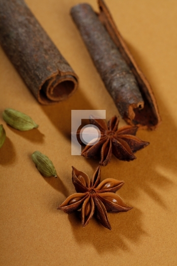 spices, cinnamon sticks, cardamom, star