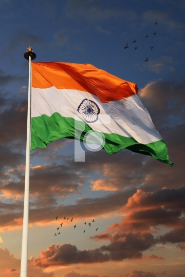 Tricolor Indian Flag with Beautiful Sky in Background