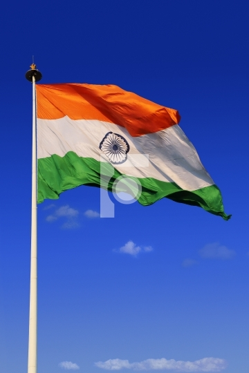 Tricolor Indian Flag with Sky in Background