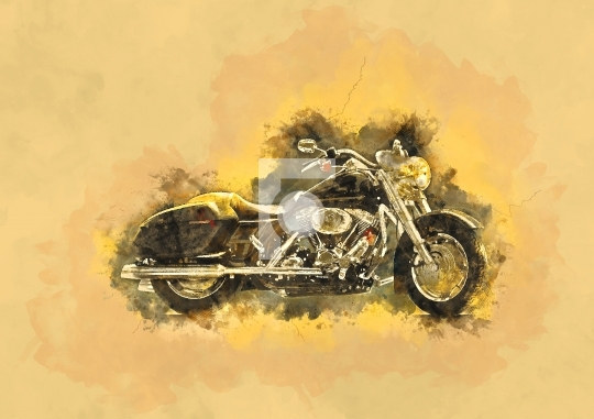 Water Color Painting - Motor Bike Stock Photo