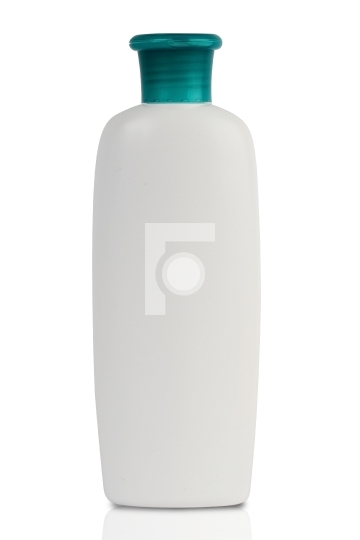 White plastic bottle with green cap